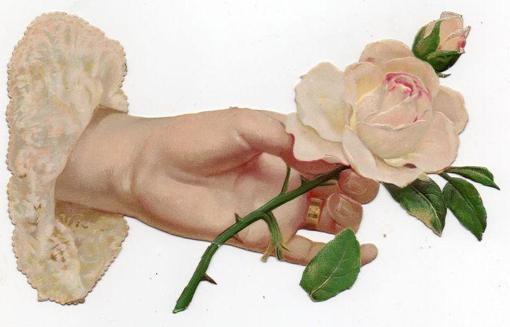 Chromo découpi die cut oblaten glanzbild -  Main &  fleurs - XL - 17 cm