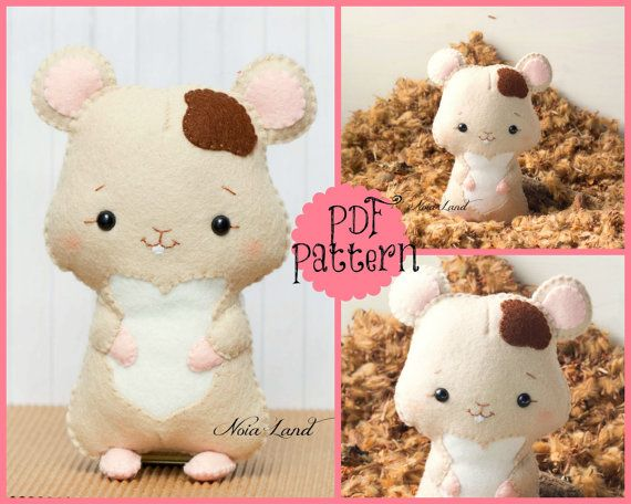 """This PDF sewing pattern is to make a hamster doll pictured from felt fabrics. These dolls are hand sewn. Size:6-7"""" tall approximately Language:"""