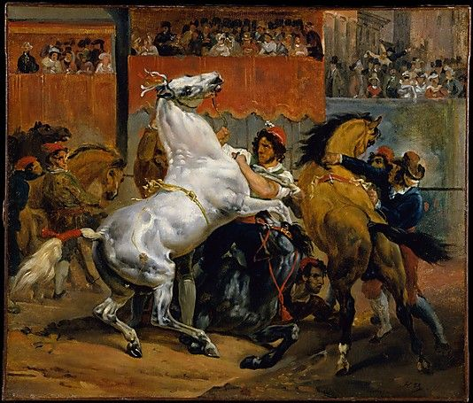 Horace Vernet (French, 1789–1863). The Start of the Race of the Riderless Horses, 1820. The Metropolitan Museum of Art, New York. Catharine Lorillard Wolfe Collection, Bequest of Catharine Lorillard Wolfe, 1887 (87.15.47)   Races of riderless horses were a highlight of Rome's Carnival, held each February before Lent. #horses