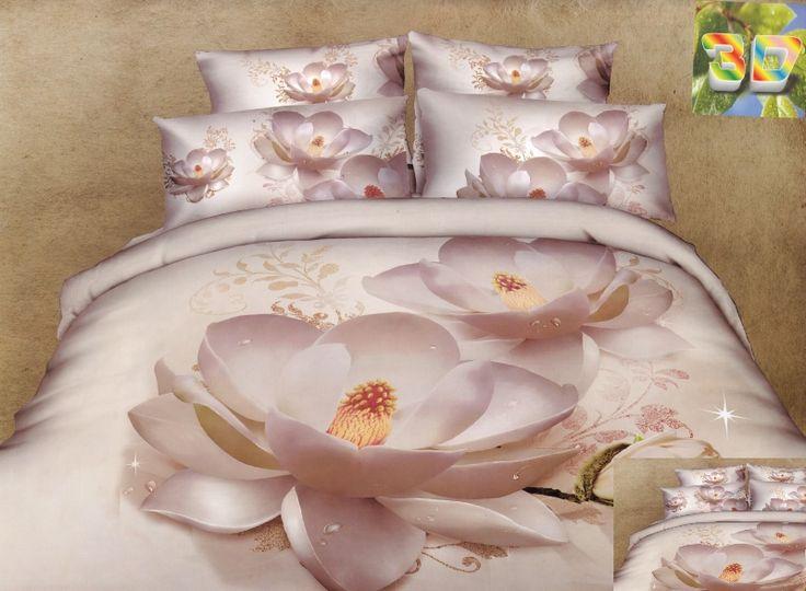 Pościel z bawełny a w kolorze kremowym z kwiatem