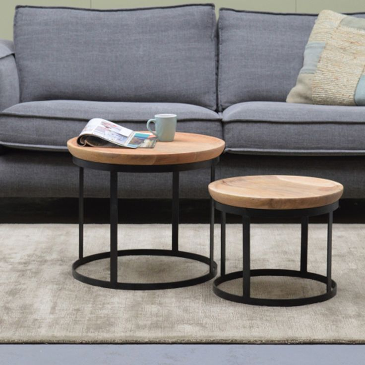 2er Set Couchtisch DUNCAN Metall Mango Satztische Beistelltisch Sofatisch Tische
