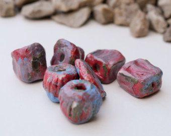 Rustic colourful artisan ceramic porcelain bead set of 7. purple pink green tribal bead set. Free shipping bead set -    Edit Listing  - Etsy