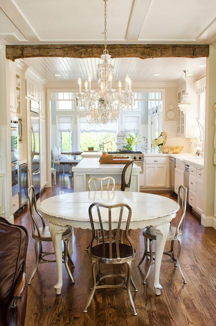 White cabinets, marble counters, wood floors, old world meets new - Shawna's Glamorous Custom Kitchen