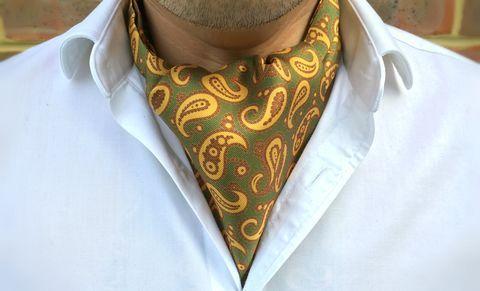 BRYN Printed Silk Cravat #cravat #ascot #tie #daycravat #silkcravat #silk #cravats #ascots #madeinengland #wedding #groom #groomswear #weddingideas #idea #grooms #style #weddingstyle #outfit #inspiration #weddingguest #guest #usher #ushers #buybritish #accessories #dapper #gentleman #cravatclub #green #yellow #brown #greencravat #paisley #paisleycravat