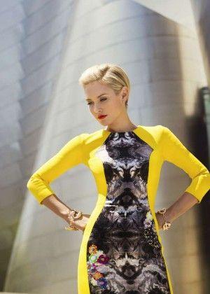 Nicky Whelan in yellow dress by RYAN HOUSSARI Fall 2014 (Cliche Magazine 2014-04)  #nickywhelan #ryanhoussari #fall2014 #yellow #print #dress #neoprene #silk #celebrity #style #stylist #womenswear #collection #editorial #Clichemagazine
