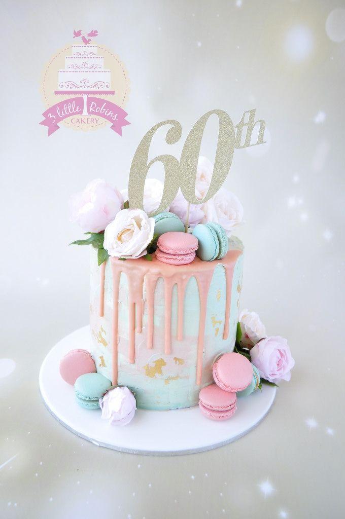 60th Birthday Drip Cake In Blush Peach And Aqua Macarons