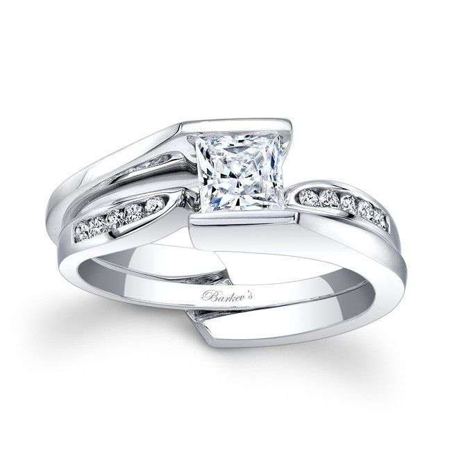 Perfect This unique diamond wedding ring set features an interlocking engagement ring and wedding band The Popular Engagement RingsPrincess Cut