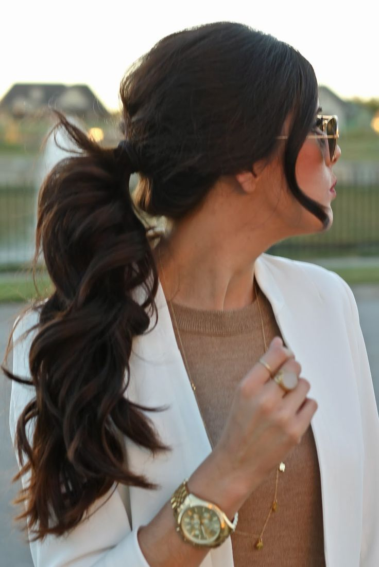 ponytail, brunette ponytail, curly ponytail, the sweetest thing hair, ponytail pinterest, fall 2013 ponytail, white blazer, emily ann gemma, gold raybans, hair idea