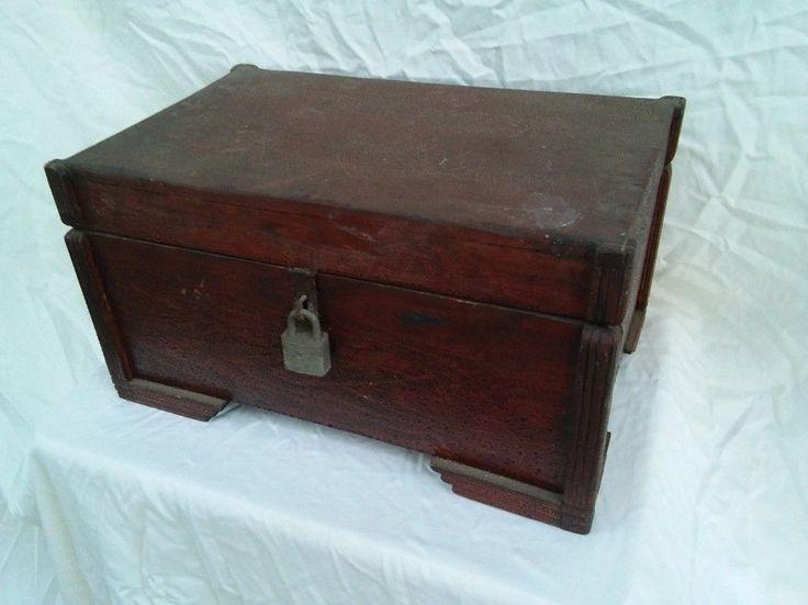 Antique Wood Cash & Documents Box Wood Insert Includes Ephemera c, 1890's
