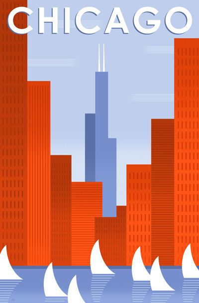 #BobStaake #illustration - I would love a wall devoted to Chicago art like this.