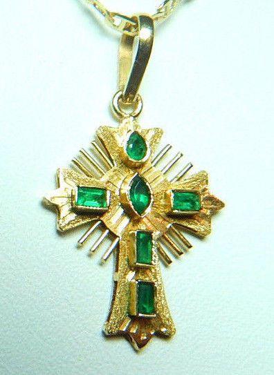 Colombian Emerald Cross Pendant 0.42 Cts 18K Yellow Gold Antique Style Fine Muzo #HandmadeByCeCi #CrossPendant