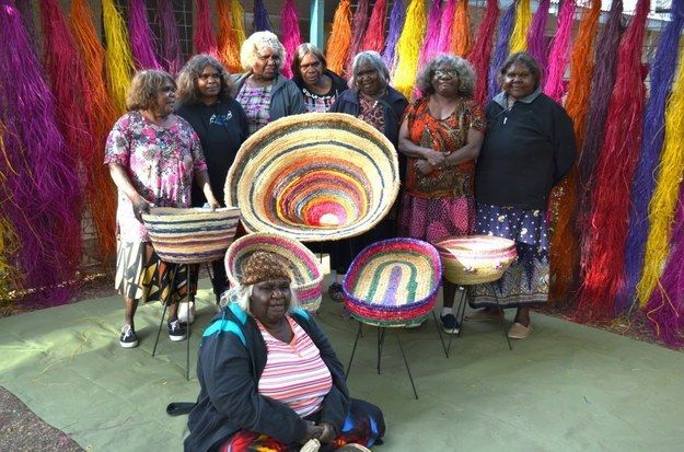 The artists make sculptures, baskets, beads and beanies out of desert grasses, wool and raffia.