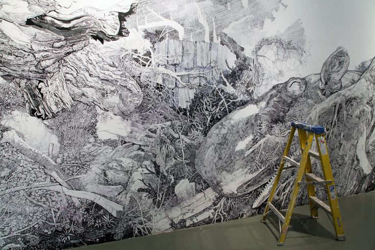 Gigantic Wall Sized Mural Illustrated With Only a Black Sharpie by Sean Sullivan