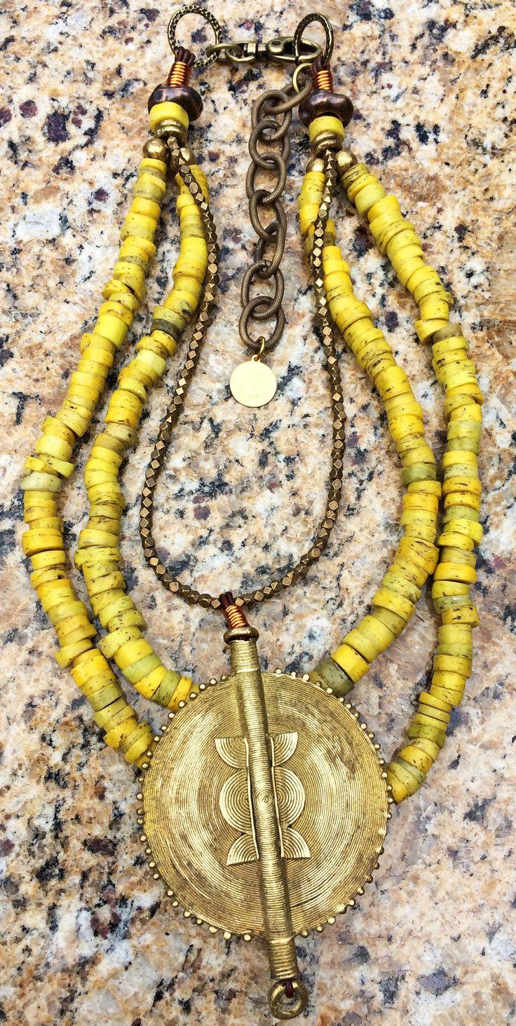 Cote d'Ivoire: Ethnic Yellow Turkish Hebron Bead and African Brass Disc Necklace $350