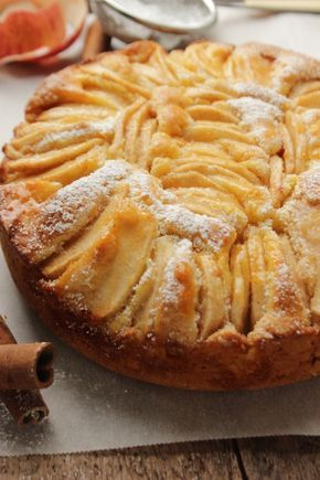 Torta di mele - an apple pie - is a very famous and simple Italian dessert. Decorate with some apricot jam. #Passion #Italy