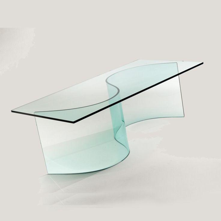 Tavolino in vetro curvato design