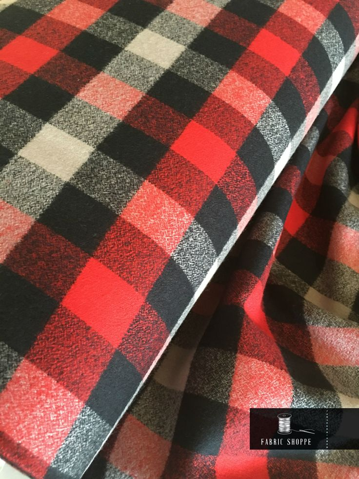 Hipster Flannel fabric, Buffalo Plaid, Flannel by the yard, Lumberjack Chic, Mammoth Flannel, Medium Plaid in Gray/Red/Black, Choose the cut by FabricShoppe on Etsy