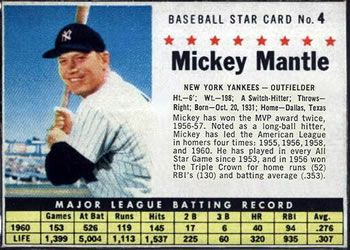 1961 Post Cereal #4a Mickey Mantle Front