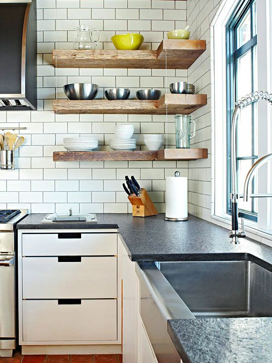 We love the look of this contemporary open shelving. See more inspiration here: http://www.bhg.com/kitchen/storage/organization/open-storage-ideas/