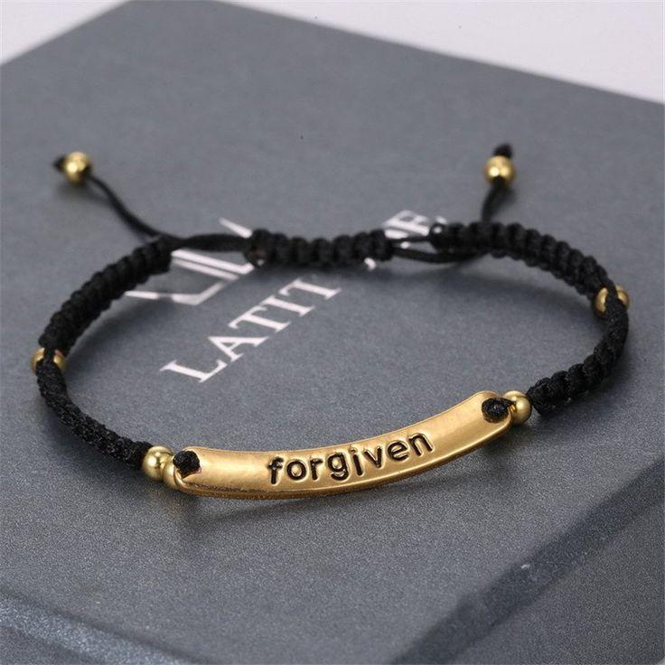 Forgiven Lettering Hand-Woven Bracelets 18k Gold Plated
