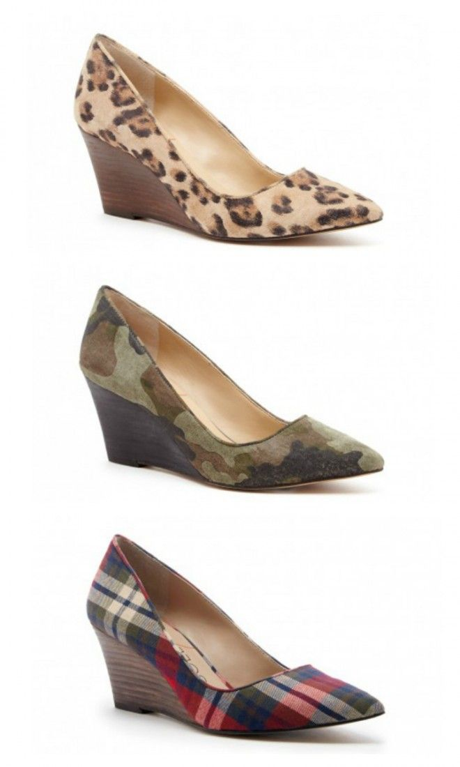 one of each right? Leopard print, camo and plaid printed mid heel wedges