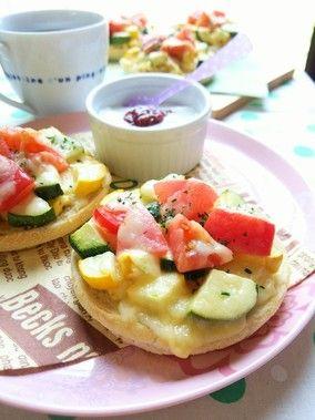 ズッキーニとトマトのマフィンピザ☆|レシピブログ