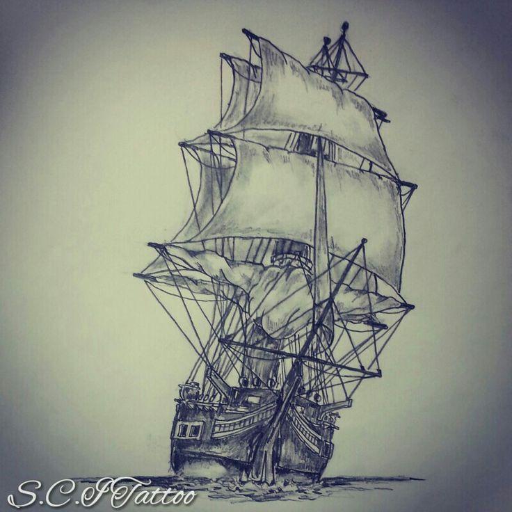 Ιστιοφόρο Τατουάζ Σκίτσο