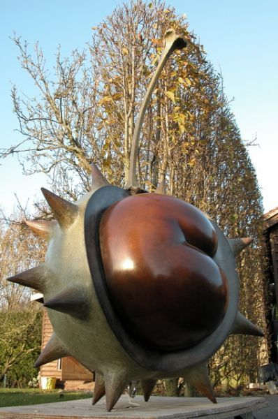 Mark Hall Sculpture Conker Ripe III - an amazing large scale conker sculpture - autumn really is an inspiring season!