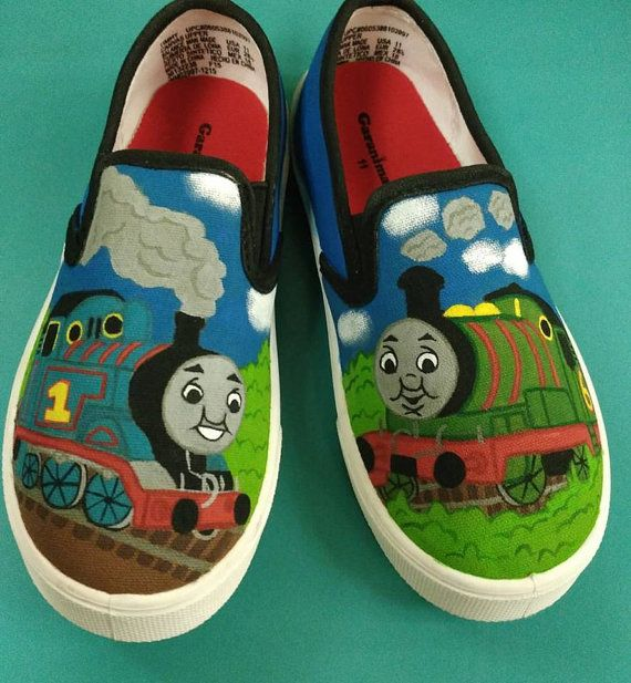 Custom Hand Painted Thomas and Friends Shoes by CustomKrazy
