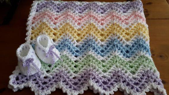 Pastel arco iris niña chevron ondulación bebé manta de