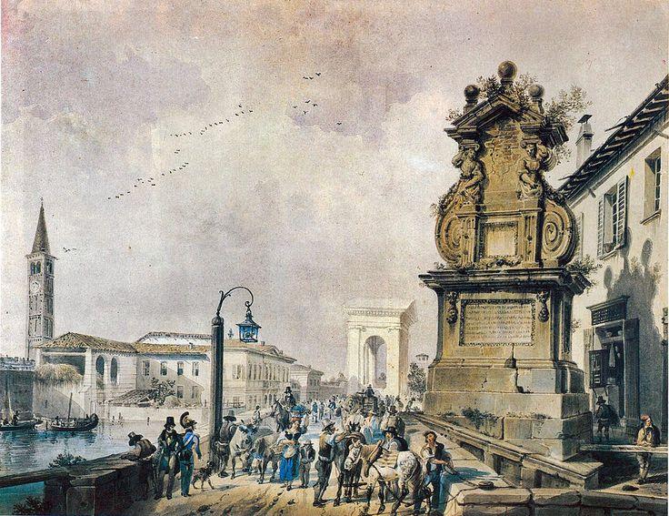Il Ponte del Trofeo sul Naviglio Pavese, a Porta Ticinese di Giovanni Migliara, 1800-49 cr. Milano