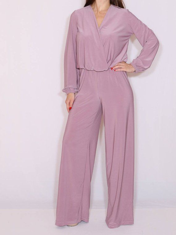 bc907443d41 Purple long sleeve jumpsuit   Purple wide leg jumpsuit for women ...