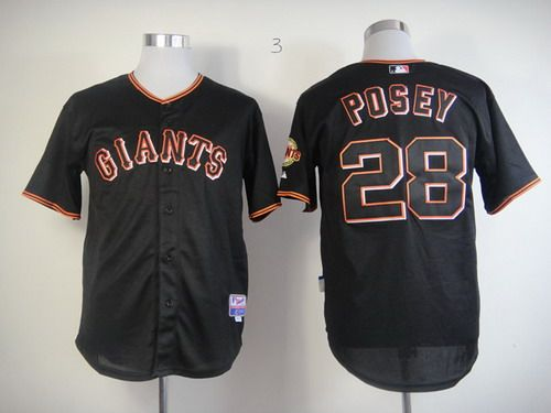 San Fransico Giants #28 Buster Posey Black Fashion Jersey (2)