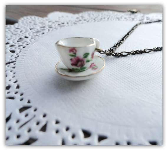Tea cup necklace   Vintage inspired pendant  by littleittybitty, $12.00