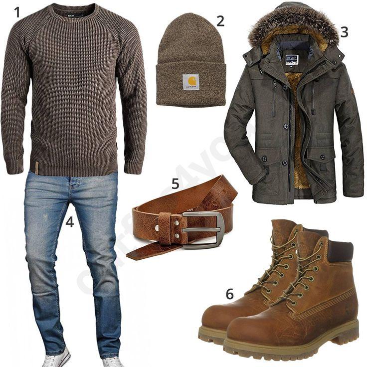 Winteroutfit für Männer mit braunem Redefined Rebel Pullover, carhartt Mütze, Jewosor Winterjacke, A. Salvarini Jeans, Ledergürtel und Timberland Stiefeln.