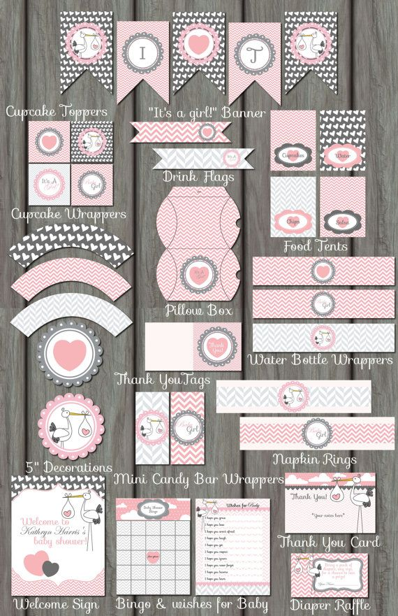 Huge Pink Stork Girl Baby Shower Package - Invitation Included