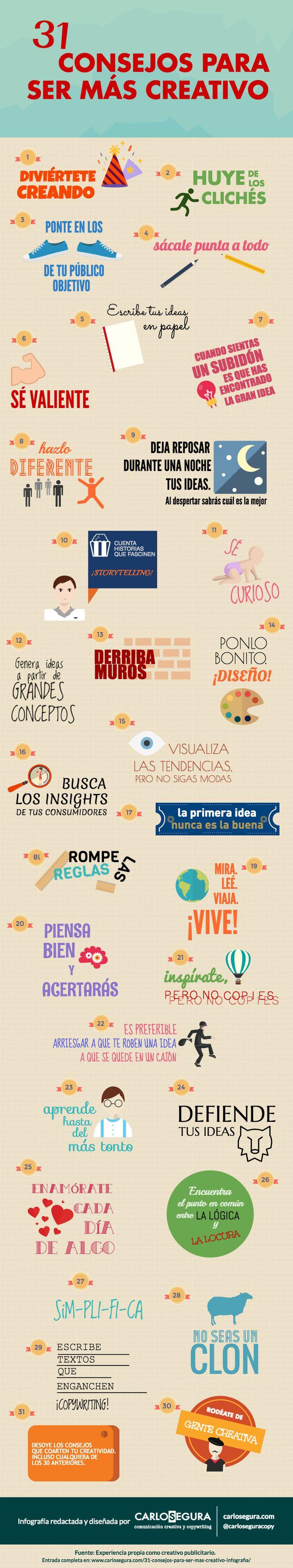 31 consejos para ser más creativo (infografía sobre creatividad). Realizada por Carlos Segura