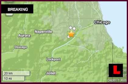 Illinois Earthquake Today 2013 Strikes West of Chicago ~ Mon Nov 4th, 2013 ~  around 12:35pm.  A 3.7 magnitude quake had no depth  started less than 1 mile below ground level. East of Naperville, North of Lockport, West of Chicago, and East of Aurora. Quake was in Indian Head Park, 1 mile north of Burr Ridge  2 miles south of La Grange. Also began 2 miles south of Western Springs, Illinois  100 miles south of Madison, Wisconsin.