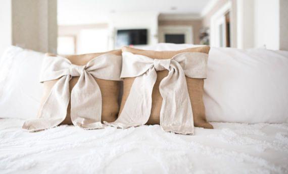Burlap Bow Pillow  Burlap and Cream Bow Pillow Decorative