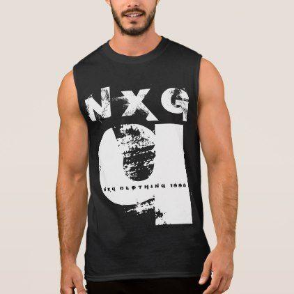 Mens Muscle Trendy Urban Black & White NXG Q 1996 Sleeveless Shirt - white gifts elegant diy gift ideas