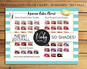 NEW LipSense Color Chart - 50 LipSense Colors - Lipsense Color Palette - LipSense 2017 Fall Colors - Color Chart A4 Size - You Print