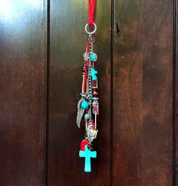 Rear View Mirror Charm Boho Hippie Cowgirl Gypsy Red Turquoise Cross Arrow Angel Wing Beads