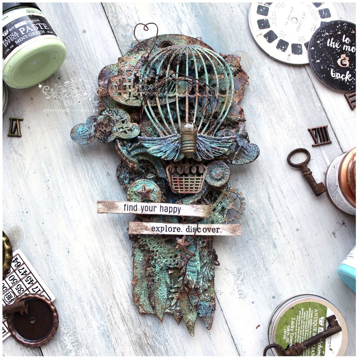 I have a new toys - Patina Effect pastes from Finnabair & Prima marketing. So the result is tag with a rich texture.  details: https://anastasiaelenadesign.blogspot.ru/2017/05/about-patina-effect-travel-and-texture.html