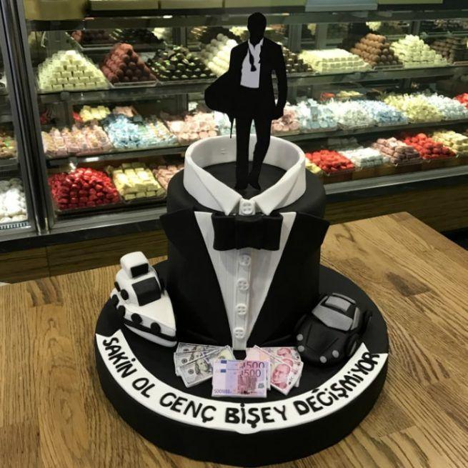 Damat Bekarlığa Veda Pastası • 1 Dakikada Sipariş Ver! • Bulvar Pastanesi    #pasta #cake #butikpasta #evlilikpastasi #damat