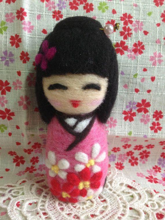 Handmade needle felted Japanese style kokeshi doll by SweetPeaDolls