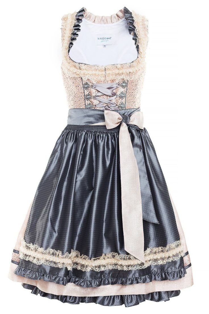 Kruger Feelings - festive Dirndl - long - beige / anthracite - Size 38