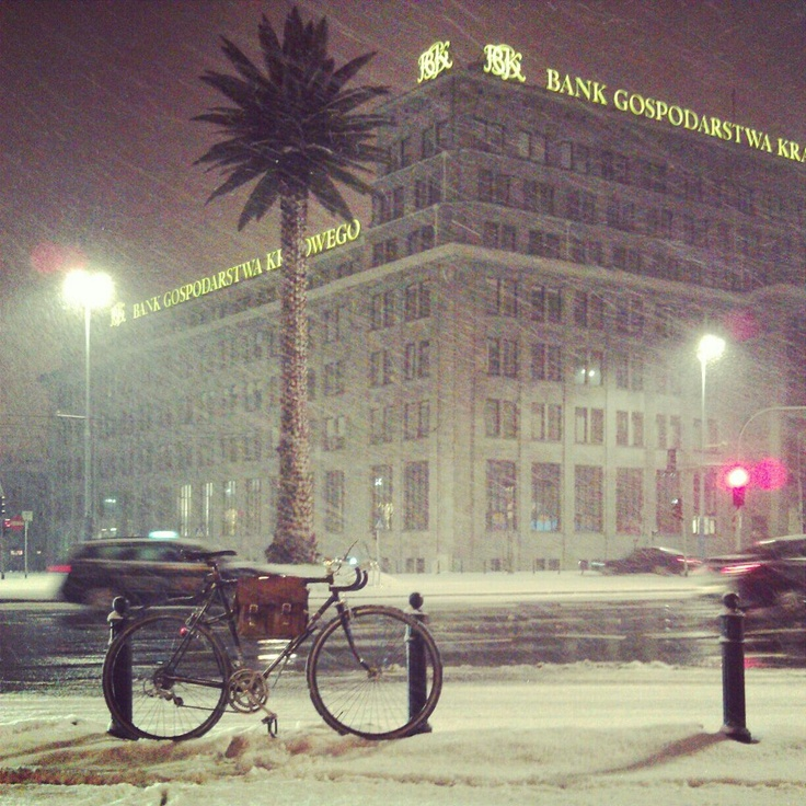 winter biking Warsaw, Poland