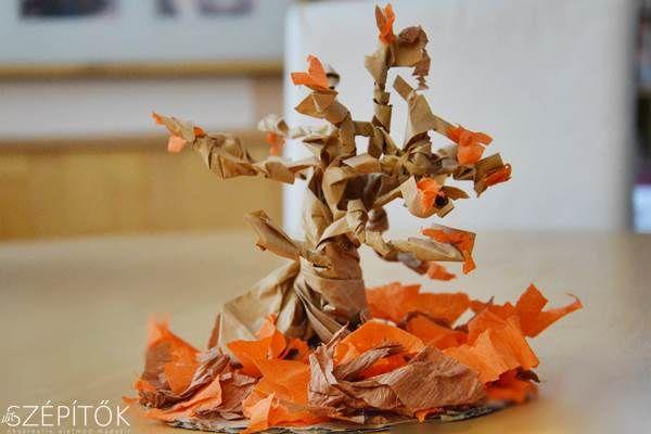 Lombhullást idéző őszi dekoráció. Kreatív fejlesztés. Látványos, egyszerűen elkészíthető papírfa