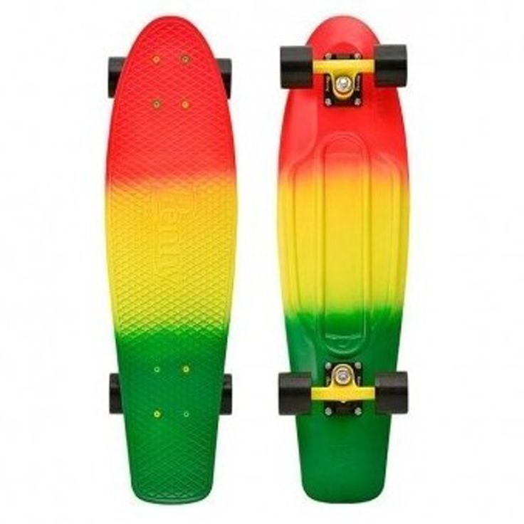 """Penny 22"""" Cruiser Fade Rasta - Complete. This sprayed Penny 22"""" comes with matching A grade 356 cast aluminium powder-coated Trucks. powder-coated Penny Trucks, black 59mm 78A super smooth Penny wheels, colour coded high tensile bolts and Penny Abec7 Bearings."""