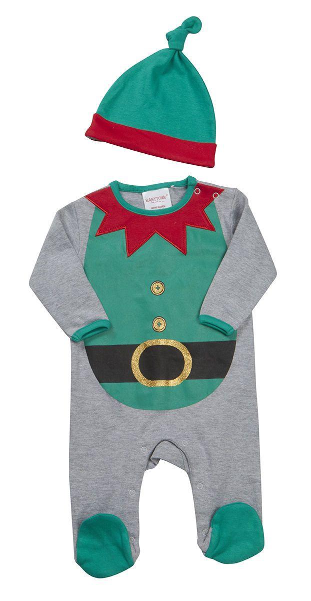 bebé Novedad Navidad Elfo Reno Santa Pijama Enterizo & Gorro Recién nacido a | eBay